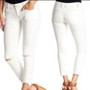 Free People Distressed raw hem Skinny Jeans 25